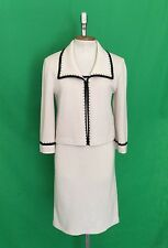 ST JOHN DRESS Suit Ivory With Black Piping Gold Studs Cardigan 2 piece Suit 8