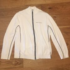 Armani Exchange Full Zip Sweater, White, Size L, 100% Cotton