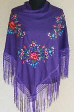 "Purple Spanish flamenco dance shawl with red & pink floral embroidery 66"" x 39"""
