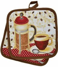 """2 Printed Kitchen Pot Holders (7"""" x 7""""), 100% Cotton, COFFEE CUP & TEAPOT, brown"""