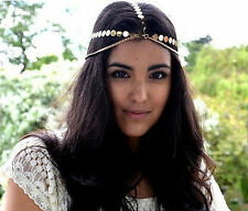 Women Lady Gold Metallic Chips BOHO Party Hippie Hair head band Cuff Headband