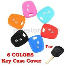 Silicone 2 Buttons Key Case Holder Fob For Peugeot 307 107 207 405 Citroen C3 C5