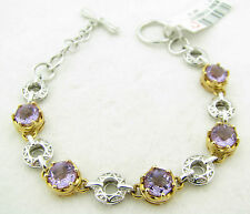 NEW Victoria Wieck Amethyst 2 Tone Sterling Silver Toggle Tennis Bracelet $249