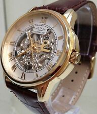 Rotary Automatic Swiss Men's Watch 9ct Gold plated Skeleton Watch Used