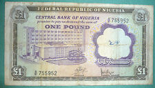 NIGERIA 1 POUND SCARCE NOTE , P 12 a , ISSUED 1968