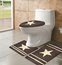 3PC BROWN STAR BATHROOM BATH MATS SET RUG CARPET CONTOUR LID COVER NEW STYLE