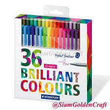 Staedtler Triplus Fineliner Color Pen Set, Set of 36 Assorted Colors, 0.3 mm