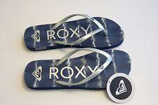 NEW Roxy -8- Women's Melon III Summer Beach Sandal Flip-Flops Thong Blue Silver