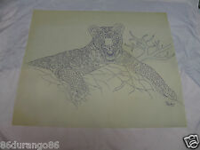 """WOOD CARVING PATTERN 17""""X14"""" CHIP RELIEF BURNING LEOPARD"""