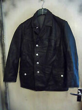 VINTAGE GERMAN LEATHER POLICE OFFICERS JACKET SIZE L PEA COAT ZIPP ZIPS