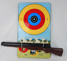 Vintage Marx Targetland Tin Litho Shooting Target Game w/  Kusan Parts Rifle