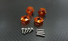 Axial EXO, SCX10, Wraith Upgrade Parts Aluminum Hex Adapter (12mmx7mm) - Orange