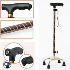 Adjustable LED Light Quad Cane Walking Stick Handle Strap Self-Standing Crutch