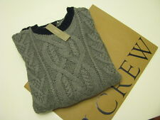NWT. J. CREW CABLE-KNIT CREW NECK COTTON SWEATER Size Medium hthr flannel