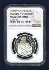 "POLAND  1993  200,000 ZLOTYCH SILVER COIN, NGC CERTIFIED ""PROOF-68 ULTRA CAMEO"""