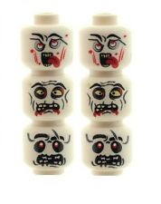Custom Minifigure Heads 6 White Zombie Skeleton Alien Printed on LEGO Parts