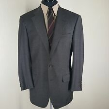 ERMENEGILDO  ZEGNA  CUSTOM VTG BROWN PLAID SPORT COAT 2 BTN. NO VENTS 42-44 L