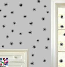 Bullet Holes Pack of 120 Wall Art Stickers Decals Murals Boys Army Soldier Gun