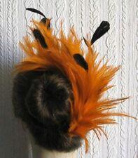 Peine De Plumas Naranja Fascinator de la sombrerería hair piece Nupcial Boda Sombrero Ascot