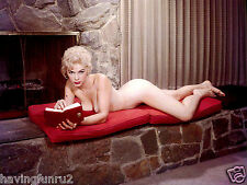 1960s Nude Pinup lying on a stone fireplace writing her diary 8 x 10 Photograph