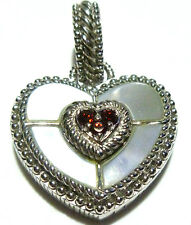 "1 3/8"" JUDITH RIPKA STERLING SILVER MOP MOTHER OF PEARL GARNET HEART PENDANT"