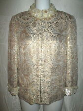 DOLCE & GABBANA Gold Brocade Jacket 40 4 $1K Mother of Pearl Collar