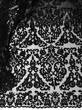 "BLACK MESH CORDED EMBROIDERY BEIDAL LACE FABRIC 50"" WiIDE 1 YARD"