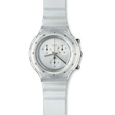 RETRO SWATCH *NEW CONDITION* 1997 Aquachrono 'SILVER' SBM107 Chronograph Watch