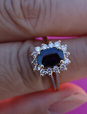1ct blue sapphire .40ct I/VS-Si1 diamond cluster ring 14k YG
