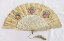 ANTIQUE VICTORIAN CARVED BONE (BOVINE) & HAND PAINTED SILK FAN - LADIES - c1860