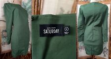 KATE SPADE SATURDAY DARK GREEN ZIPPERS L/S SHEATH DRESS COTTON BLEND EUC XS 0
