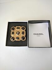 Auth CHANEL Brooch Stone Brown Gold Gold Plate