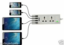 EU/US/UK 2-Outlet 4 USB Port High Speed Power Adapter Charger W/ Surge Protector