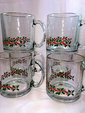 Set Of 6 Holly Berry Clear Glass Cups Mugs Handle Gold Rim Heavy