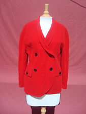 Escada by Margaretha Ley Tomato Red Wool Cashmere Women Jacket Coat L Germany