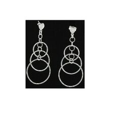 57.5mm Silver Dangling Fancy Earrings With Push Back Backing #PVE33