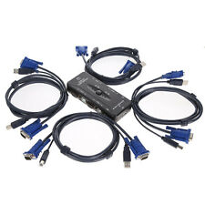 USB 2.0 4 Port Monitor VGA SVGA KVM Switch Box + 4 Cables for PC Keyboard Mouse