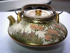 Japanese Satsuma small size teapot blossom & bamboo decoration late 19thC