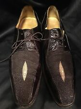 BELVEDERE Men's Dark Brown Genuine Stingray and Eel Skin Shoes Size 10/5 $349