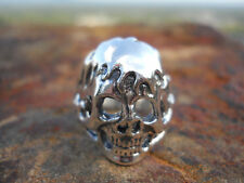 Awesome Mans Flame Skull Ring .925 Sterling Silver SZ 11