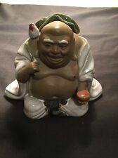 Vintage Clay Happy Buddha With A Bird Marked On Bottom !!! L@@K !!!