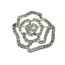 New Silver Tone Crystal Rose Flower Open Back Brooch in Gift Box