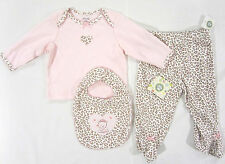 Little Me 3-piece outfit baby girl's sz 6 mos pink leopard print NEW