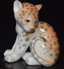 Vintage Lomonosov Russia USSR Baby Cheetah Jaguar Figurine