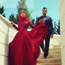 New Romantic Muslim Evening Dresses Long Sleeve Prom Formal Evening Party Gown