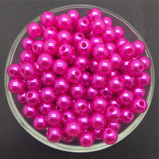 Wholesale 50PCS 8mm Rose Acrylic Round Pearl Spacer Loose Beads Jewelry Making
