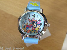 BRAN NEW CHILDS DISNEY MICKY MOUSE AND FRIENDS WATCH SKY BLUE FAUX LEATHER STRAP