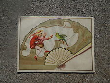 Chromo Eventail Fan Ventaglio Facher Old Trade Card