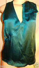 WORTH 100% Silk Green New Peacock Charmeuse Flatter Cutaway Top size 4 $198 NWT