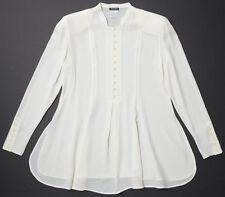 NEW GIORGIO ARMANI 100% Silk Tunic Blouse Fit & Flare Cream White SIZE 42 US 6-8